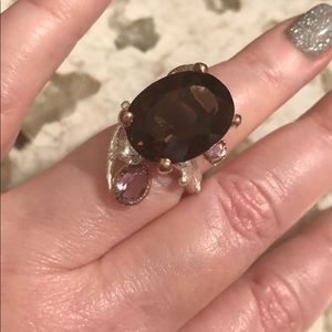 Jewelry - One of a kind smoky quartz amethyst sterling ring